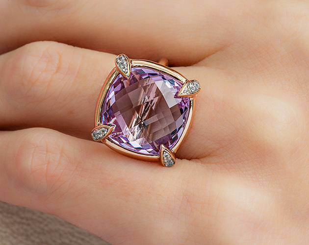 14K Rose Gold Amethyst and White Sapphire Claw Prong Accent Checkerboard Cocktail Ring