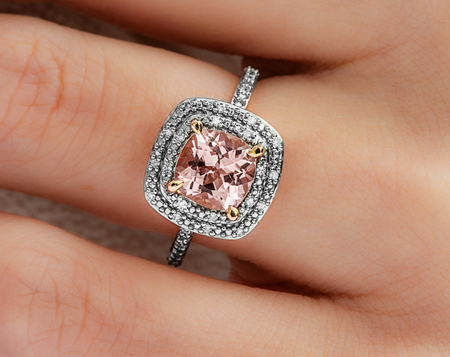 14K Rose Gold Morganite and Diamond Double Halo Cocktail Ring