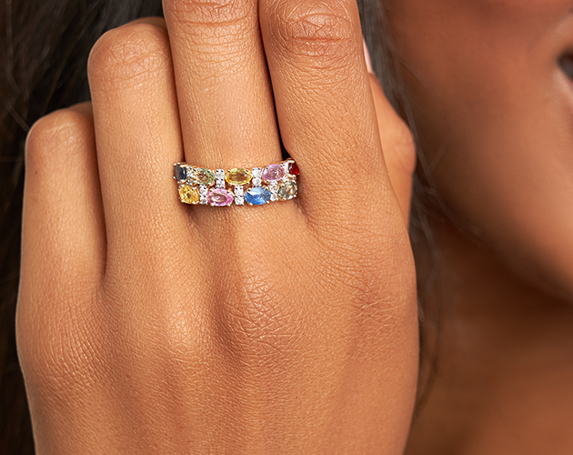 14K Yellow Gold Multi Sapphire Double Row Ring