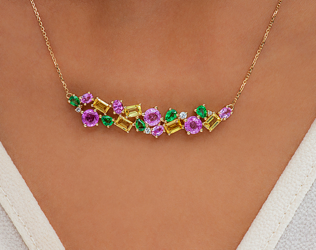 14K Yellow Gold, Pink, Yellow and White Sapphire and Tsavorite Cluster Bar Necklace