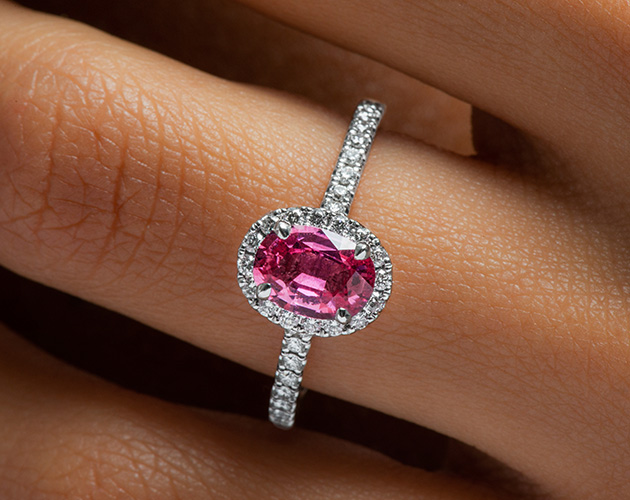 18K White Gold Oval Halo Pink Sapphire and Diamond Ring