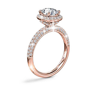 Monique Lhuiller Timeless Oval Rollover Halo Diamond Engagement Ring in Rose Gold