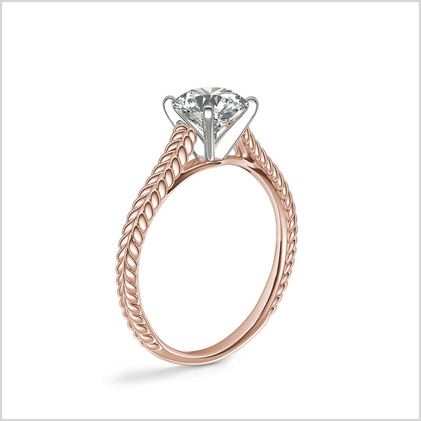 Braided Cathedral Solitaire Engagement Ring in Rose Gold