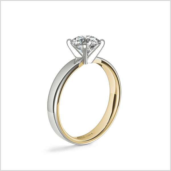 Polish Two-Tone Solitaire Diamond Engagement Ring