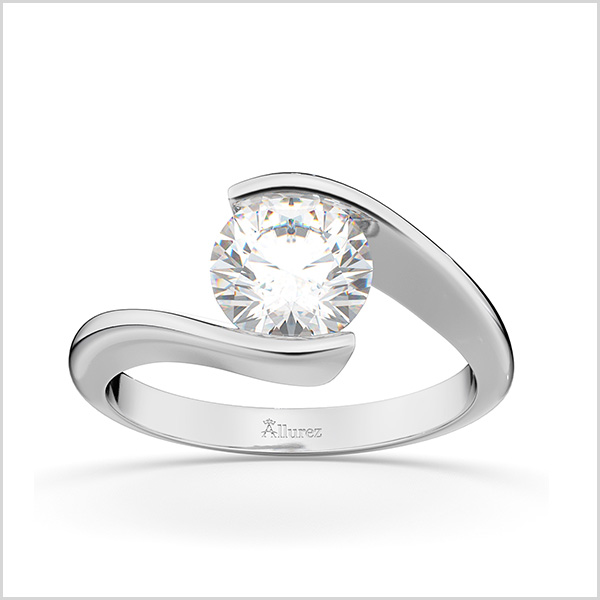 Tension Set Swirl Solitaire Engagement Ring in 14K White Gold