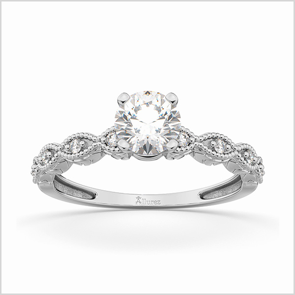 Petite Marquise Diamond Engagement Ring in 18K White Gold