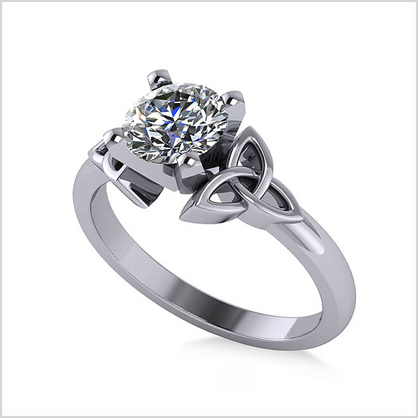 Celtic Love Knot Solitaire Engagement Ring in 14K White Gold