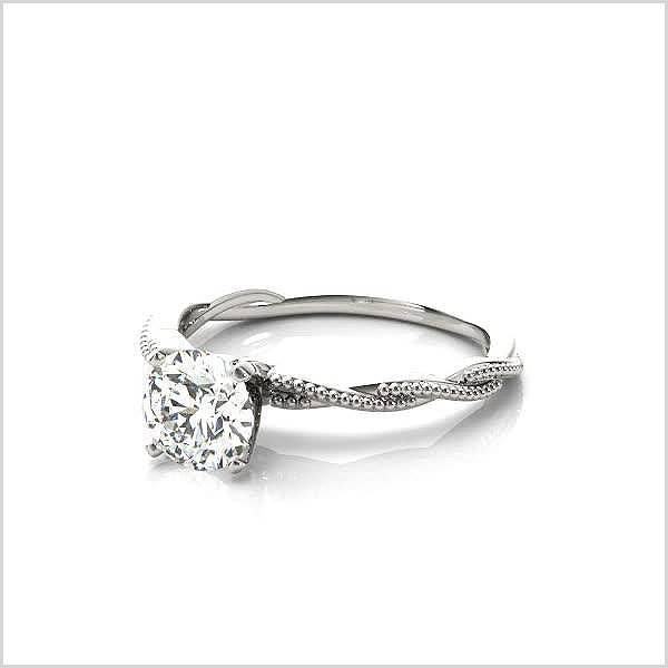 Solitaire Twist Engagement Ring in 14K White Gold